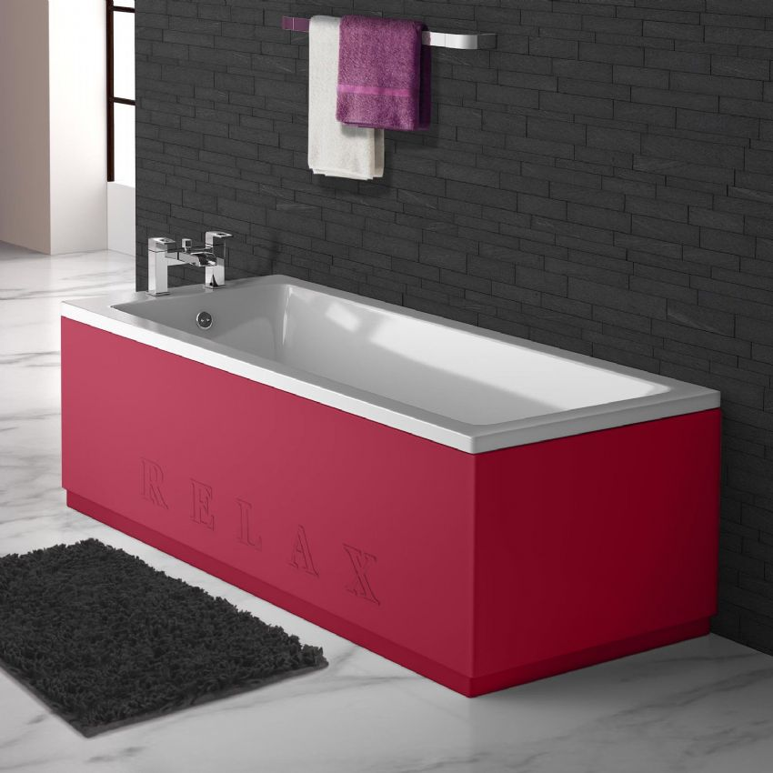 High Gloss Red Engraved 2 Piece adjustable Bath Panels